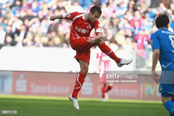 Adam Matuschyk of Koeln scores his second team goal during the Bundesliga match between 1899 Hoffenheim and 1 FC Koeln at RheinNeckar Arena on April...
