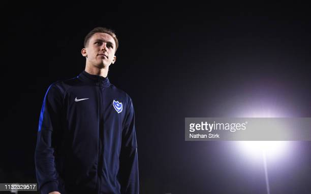 Adam May of Portsmouth inspects the pitch before the Checkatrade Trophy match between Bury and Portsmouth at Gigg Lane on February 26 2019 in Bury...
