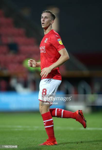 Adam May of Swindon Town in action during the Sky Bet League Two match between Swindon Town and Northampton Town at The County Ground on August 20...