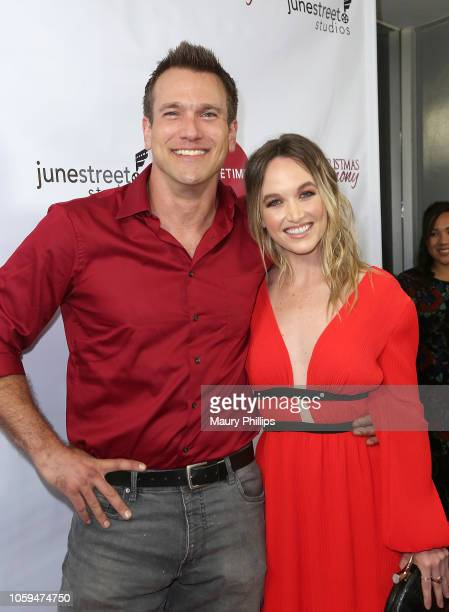 """Adam Mayfield and Kelly Jakie arrive at Lifetime's """"Christmas Harmony"""" Premiere at Harmony Gold Theater on November 7, 2018 in Los Angeles,..."""