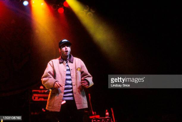 """Adam """"MCA"""" Yauch performs in Beastie Boys at the Universal Amphitheatre in Universal City on November 24, 1992 in Los Angeles."""