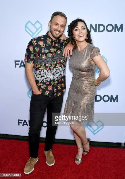 Adam McArthur and Amanda Troop attend the Fandom Party during ComicCon International 2018 at Float at Hard Rock Hotel San Diego on July 19 2018 in...
