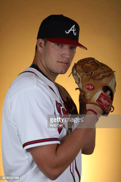 Adam McCreery of the Atlanta Braves poses for a photo during photo days at Champion Stadium on February 22 2018 in Lake Buena Vista Florida