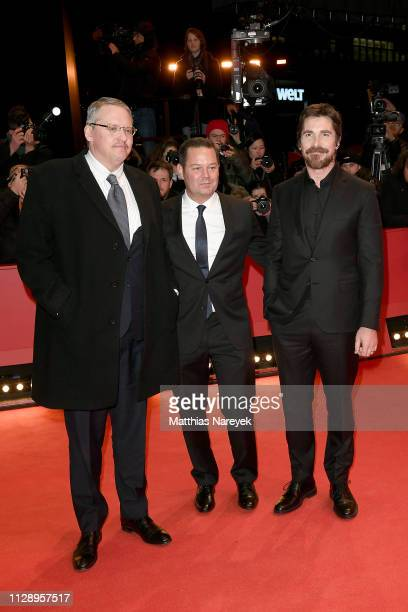 Adam McKay Kevin J Messick and Christian Bale pose at the 'Vice' premiere during the 69th Berlinale International Film Festival Berlin at Berlinale...