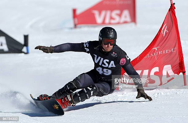 Adam McLeish of Great Britain races in the FIS Snowboard Parallel Giant Slalom World Cup on December 17 2009 in Telluride Colorado