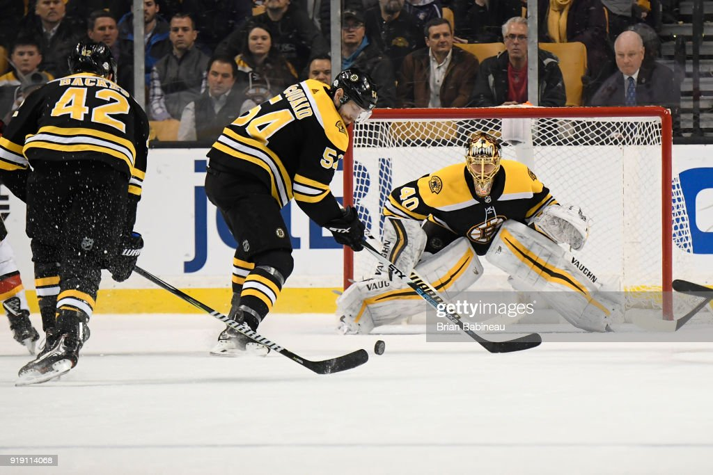 Adam McQuaid #54 and Tuukka Rask #40 of the Boston Bruins watch a loose puck during the game against the Calgary Flames at the TD Garden on February 13, 2018 in Boston, Massachusetts.