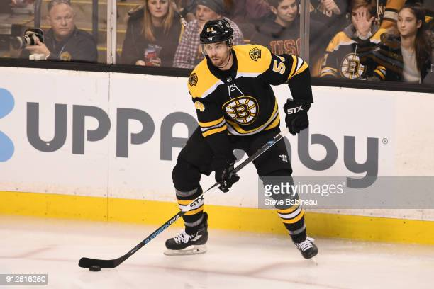 Adam McQuaid of the Boston Bruins against the Anaheim Ducks at the TD Garden on January 30 2018 in Boston Massachusetts