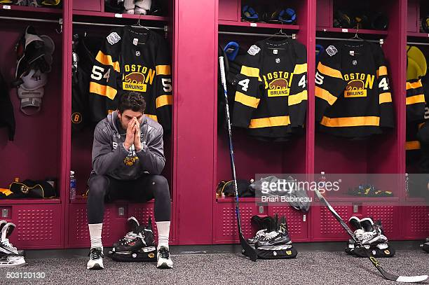 Adam McQuaid of the Boston Bruins prepares himself for the 2016 Bridgestone NHL Classic against the Montreal Canadiens at Gillette Stadium on January...