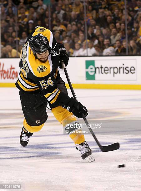 Adam McQuaid of the Boston Bruins shoots and scores in the third period against the Pittsburgh Penguins in Game Four of the Eastern Conference Final...