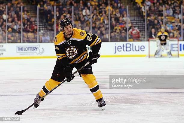 Adam McQuaid of the Boston Bruins skates against the Calgary Flames during the third period at TD Garden on March 1 2016 in Boston Massachusetts The...