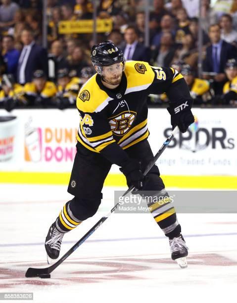 Adam McQuaid of the Boston Bruins skates against the Nashville Predators during the third period at TD Garden on October 5 2017 in Boston...
