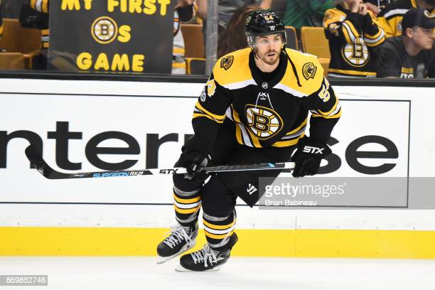 Adam McQuaid of the Boston Bruins warms up before the game against the Colorado Avalanche at the TD Garden on October 9 2017 in Boston Massachusetts