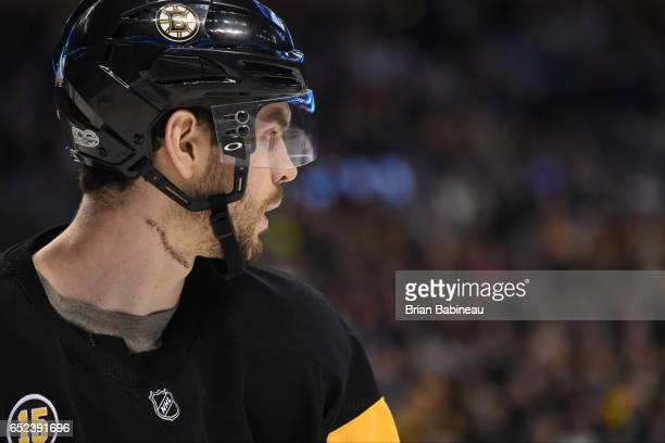 Adam McQuaid of the Boston Bruins watches the play against the Philadelphia Flyers at the TD Garden on March 11 2017 in Boston Massachusetts