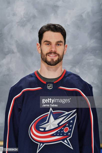 Adam McQuaid of the Columbus Blue Jackets poses for his headshot prior to a game against the Pittsburgh Penguins on February 26 2019 at Nationwide...
