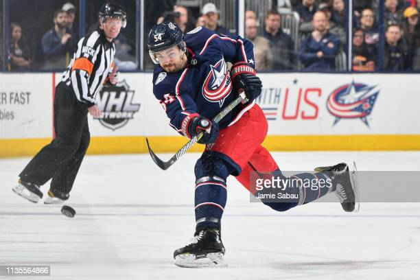 Adam McQuaid of the Columbus Blue Jackets skates against the Boston Bruins on March 12 2019 at Nationwide Arena in Columbus Ohio