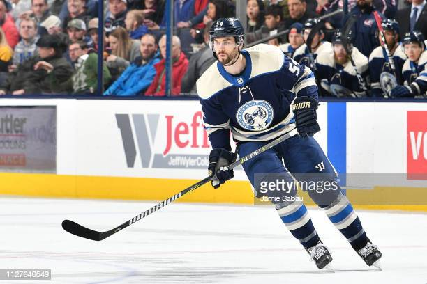 Adam McQuaid of the Columbus Blue Jackets skates during the first period of a game against the Pittsburgh Penguins on February 26 2019 at Nationwide...
