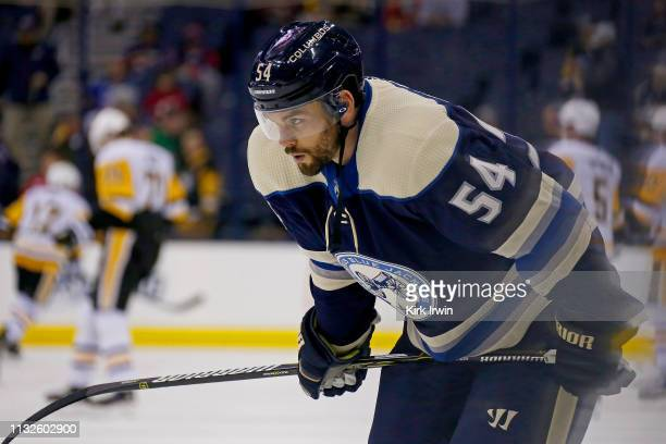 Adam McQuaid of the Columbus Blue Jackets warms up prior to the start of the game against the Pittsburgh Penguins on February 26 2019 at Nationwide...