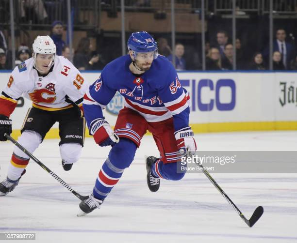 Adam McQuaid of the New York Rangers skates against the Calgary Flames at Madison Square Garden on October 21 2018 in New York City The Flames...