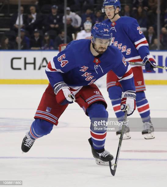 Adam McQuaid of the New York Rangers skates against the Florida Panthers at Madison Square Garden on October 23 2018 in New York City The Rangers...