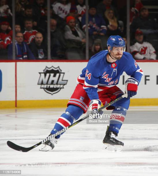 Adam McQuaid of the New York Rangers skates against the New Jersey Devils at the Prudential Center on January 31 2019 in Newark New Jersey The...
