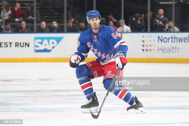 Adam McQuaid of the New York Rangers skates against the San Jose Sharks at Madison Square Garden on October 11 2018 in New York City