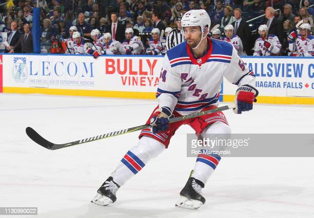 Adam McQuaid of the New York Rangers skates during an NHL game against the Buffalo Sabres on February 15 2019 at KeyBank Center in Buffalo New York