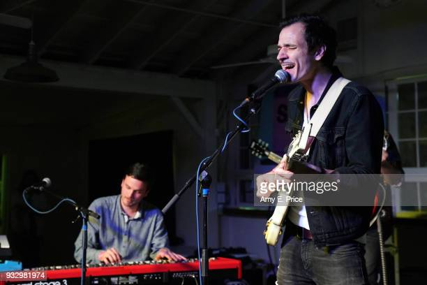 Adam Menyhei and Hunor G Szabo of The Qualitons perform onstage at Sounds from Hungary during SXSW at Palm Door on March 16 2018 in Austin Texas