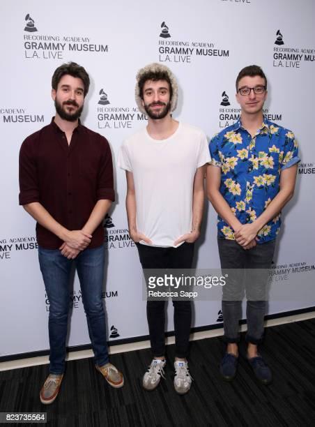 Adam Met Jack Met and Ryan Met of AJR arrive at Spotlight AJR at The GRAMMY Museum on July 27 2017 in Los Angeles California