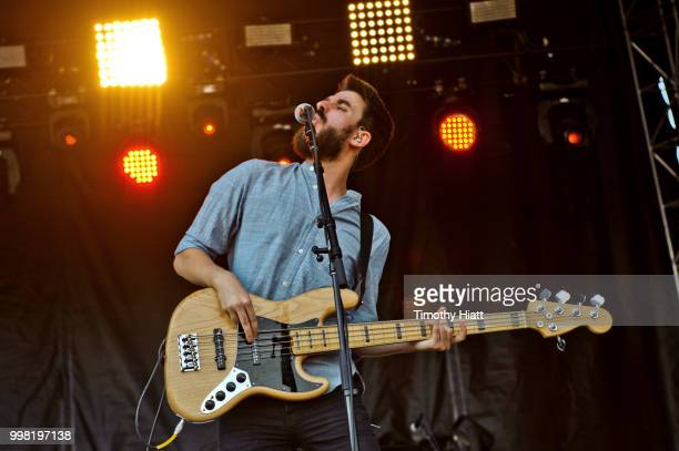Adam Met of AJR performs on Day 1 of Forecastle Music Festival on July 13 2018 in Louisville Kentucky