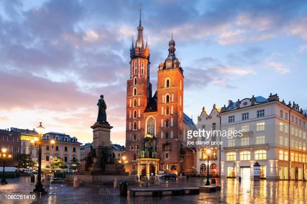 Adam Mickiewicz Monument, St Mary's Basilica, Bazylika Mariacka, Krakow, Poland