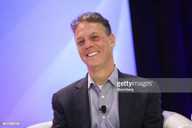 Adam Miller president and chief executive officer of Cornerstone OnDemand Inc smiles during the Montgomery Summit in Santa Monica California US on...