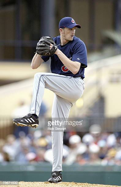 Adam Miller#72 of the Cleveland Indians delivers the pitch against the Detroit Tigers during a Spring Training game on March 32007 at Joker Marchant...