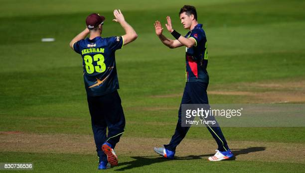 Adam Milne of Kent celebrates the wicket of Steven Davies of Somerset during the NatWest T20 Blast match between Somerset and Kent at The Cooper...