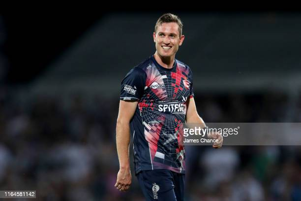 Adam Milne of Kent Spitfires looks on during the Vitality Blast match between Kent Spitfires and Essex Eagles at The Spitfire Ground on July 26 2019...