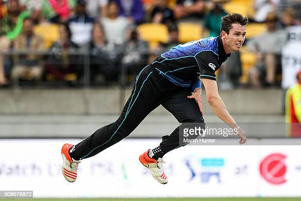 Adam Milne of New Zealand bowls during game two of the one day international series between New Zealand and Australia at Westpac Stadium on February...