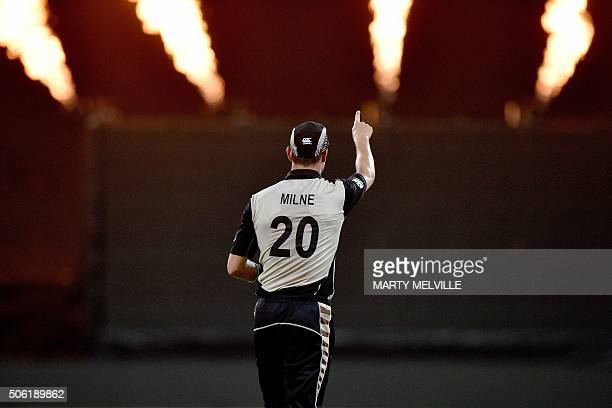 TOPSHOT Adam Milne of New Zealand celebrates catching Sarfraz Ahmed of Pakistan during the third T20 cricket match between New Zealand and Pakistan...