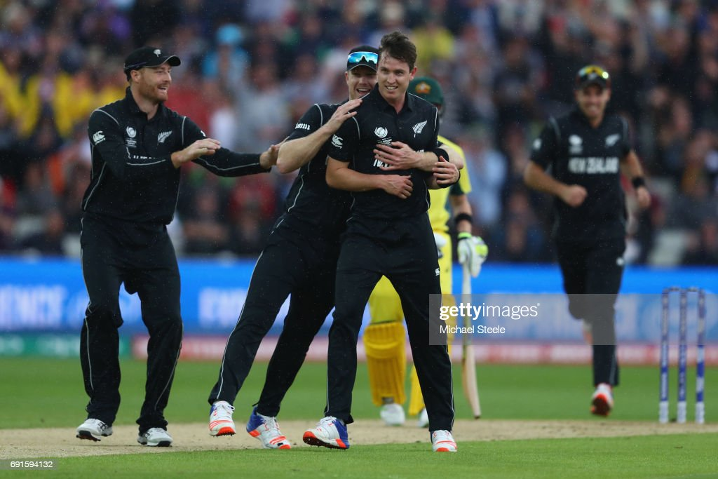 Adam Milne of New Zealand celebrates taking the caught and bowled wicket of Moises Henriques of Australia during the ICC Champions Trophy match between Australia and New Zealand at Edgbaston on June 2, 2017 in Birmingham, England.