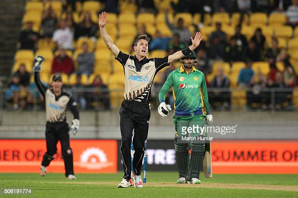 Adam Milne of New Zealand celebrates the wicket of Imad Wasim of Pakistan during the Twenty20 International match between New Zealand and Pakistan at...