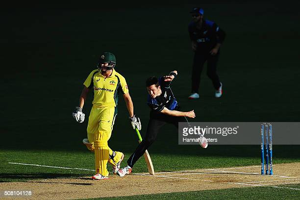 Adam Milne of the Black Caps bowls during the One Day International match between New Zealand and Australia at Eden Park on February 3 2016 in...