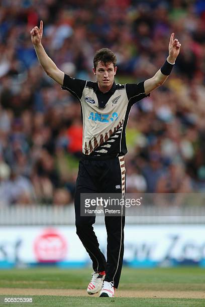 Adam Milne of the Black Caps celebrates the wicket of Shahid Afridi of Pakistan during the International Twenty20 match between New Zealand and...