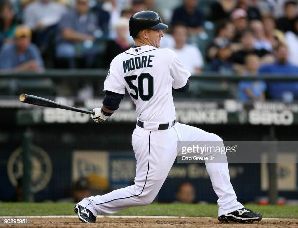 Adam Moore of the Seattle Mariners grounds out against the Chicago White Sox on September 17 2009 at Safeco Field in Seattle Washington