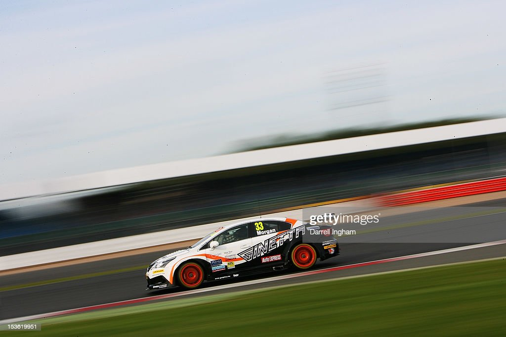 Adam Morgan of Great Britain drives the #33 Speedworks Motorsport Toyota Avensis during the Dunlop MSA British Touring Car Championship race at the Silverstone Circuit on October 7, 2012 in Towcester, United Kingdom.