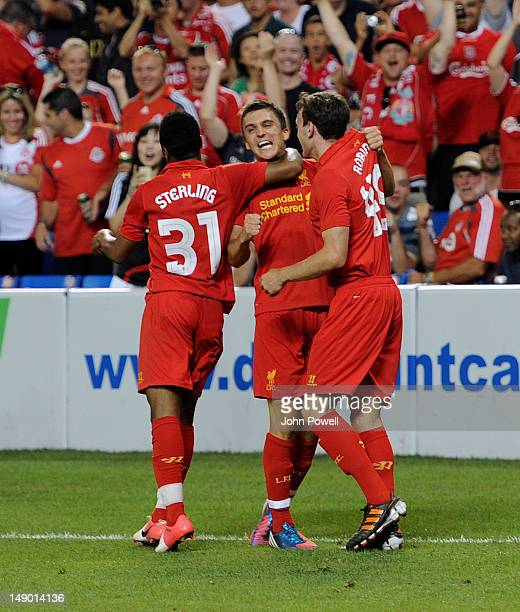 Adam Morgan of Liverpool celebrates after scoring equalising goal during the World Football Challenge friendly match at Rogers Centre on July 21 2012...