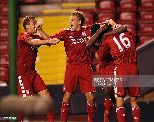 Adam Morgan of Liverpool celebrates after scoring the opening goal during the NextGen Series Group 2 match between Liverpool U19 and Molde FK U19 at...