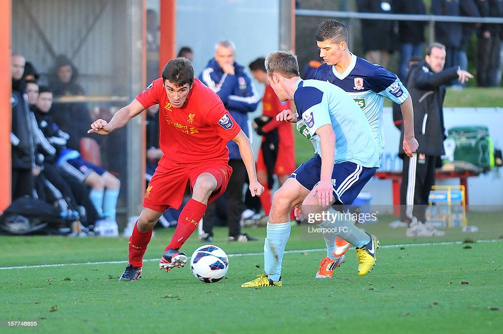 Adam Morgan of Liverpool dribbles with the ball during U21 Barclays Premier League match between Liverpool U21 and Middlesbrough U21 at The Academy on November 23, 2012 in Liverpool, England.