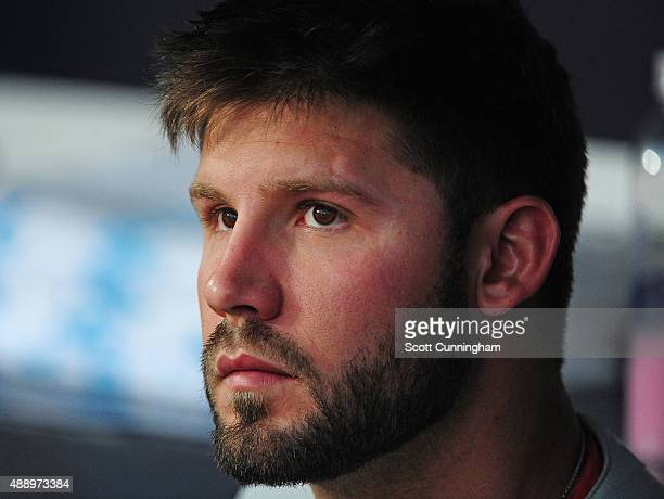Adam Morgan of the Philadelphia Phillies concentrates while on the bench before the game against the Atlanta Braves at Turner Field on September 18...