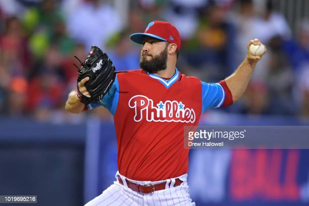Adam Morgan of the Philadelphia Phillies delivers a pitch in the fourth inning against the New York Mets during the inaugural MLB Little League...