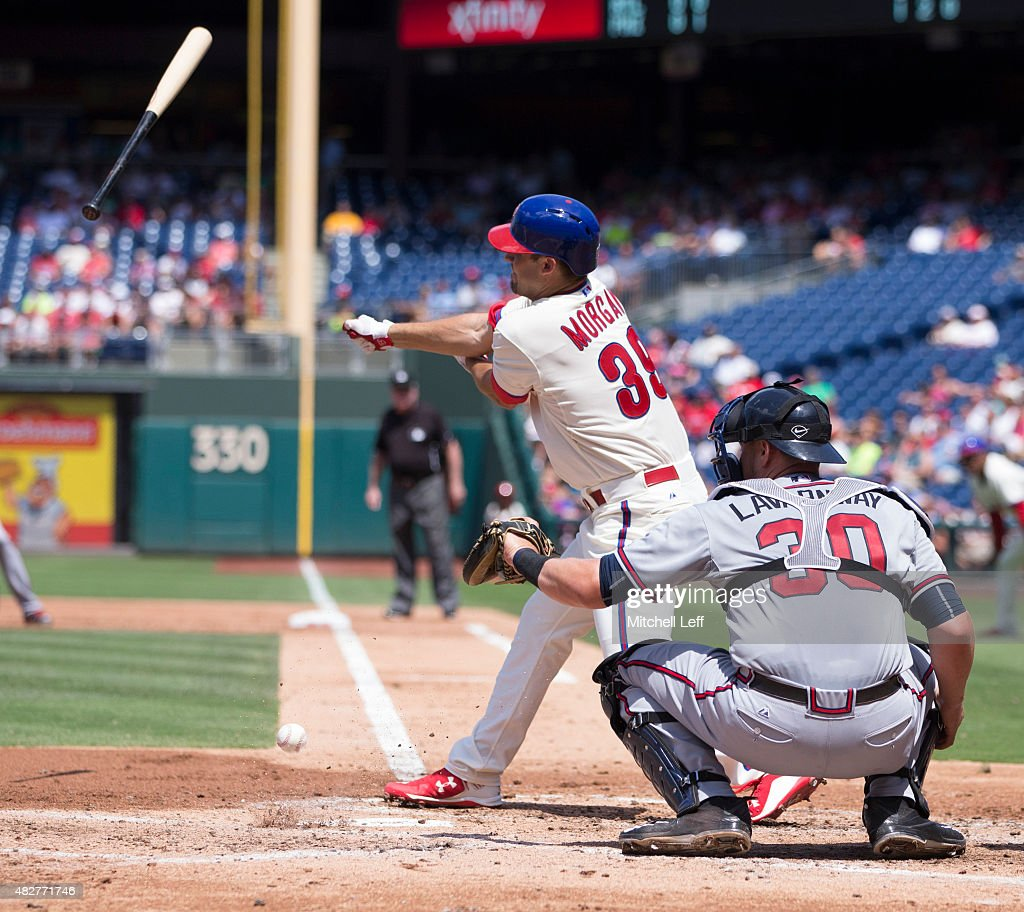 Adam Morgan #39 of the Philadelphia Phillies loses his handle on the bat in the bottom of the second inning against the Atlanta Braves on August 2, 2015 at the Citizens Bank Park in Philadelphia, Pennsylvania.