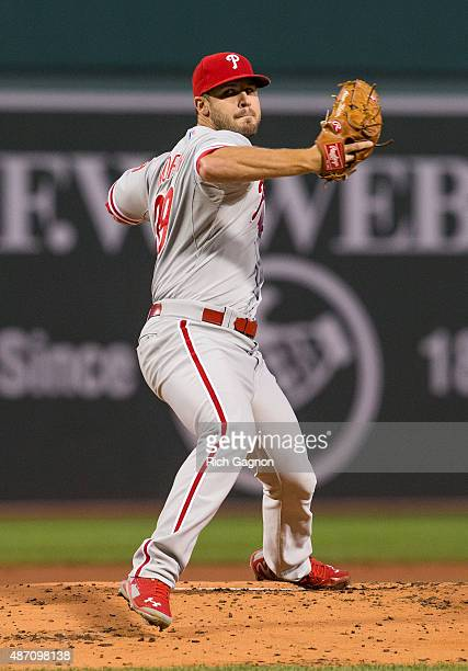 Adam Morgan of the Philadelphia Phillies pitches against the Boston Red Sox during the first inning at Fenway Park on September 4 2015 in Boston...