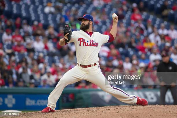 Adam Morgan of the Philadelphia Phillies pitches against the Pittsburgh Pirates at Citizens Bank Park on April 21 2018 in Philadelphia Pennsylvania